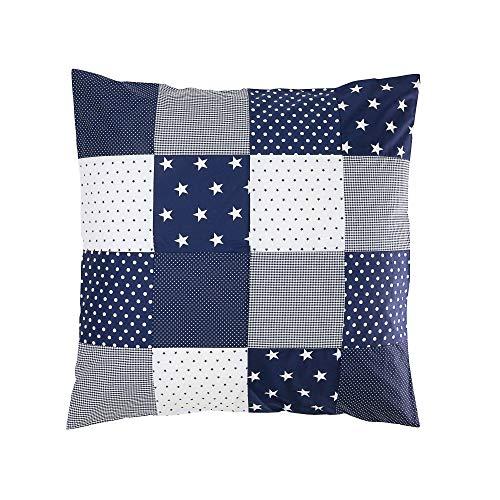 ULLENBOOM ® Patchwork Kissen 80x80 cm mit Füllung Blaue Sterne (mit Reißverschluss, Bezug auch für Dekokissen geeignet, Motiv: Sterne, Patchwork) -