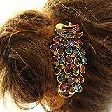 M010549 - Pasador para cabello con cristales, estilo vintage, diseño de pavo real