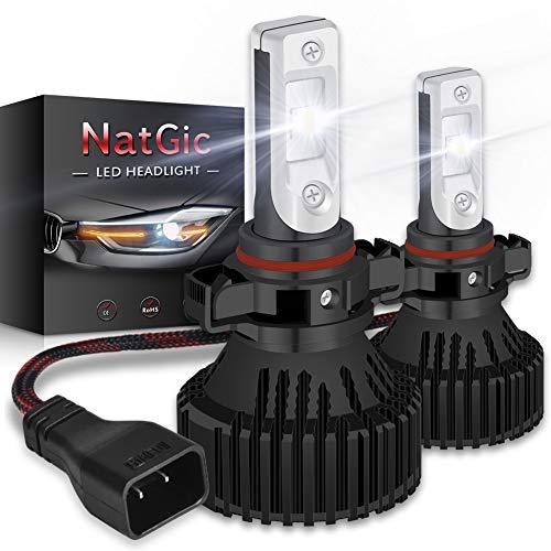NATGIC H16 5202 Led Kit de Conversion D'ampoules de Phare Ampoules à LED Super Brillantes 16000LM 16 puces XHP50 Blanc pur 6500K étanche, DC 9-32V, Garantie de 2 ans (pack de 2)