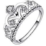 Bodya Jewelry Damen Silber vergoldet Cubic Zirkonia CZ Prinzessin Krone Tiara Ring Diamant Hochzeit Band Ring