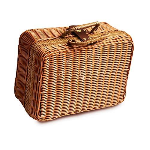 iBaste Aufbewahrungskorb aus Rattan Geflochten Koffer Picknickkorb Rechteckig Korb mit Henkel Weidekorb Einkaufkorb-29cmx22cmx14cm-Natur