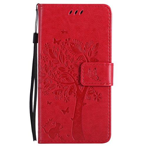 LMAZWUFULM Hülle für HTC One M8 / HTC One M8S 5.0 Zoll PU Leder Magnet Brieftasche Lederhülle Baum & Katze Prägung Design Stent-Funktion Ledertasche Flip Cover für HTC One M8 / M8S Rot