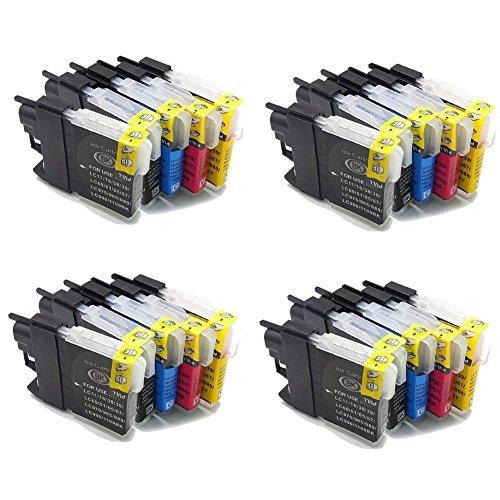 Lot de 10 cartouches d'encre génériques (non originale) compatibles avec les imprimantes suivantes : Brother DCP-J125 DCP-J315W DCP-J515W MFC-J220 MFC-J265W MFC-J410 MFC-J415W plus . Remplacent les références d'origine: Brother LC985BK LC985C LC985M LC985Y