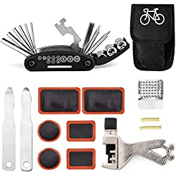 Juego de herramientas de reparación de bicicletas 16 en 1, juego de herramientas esenciales para bicicleta, kit portátil de reparación de bicicletas(Herramientas multifunción)