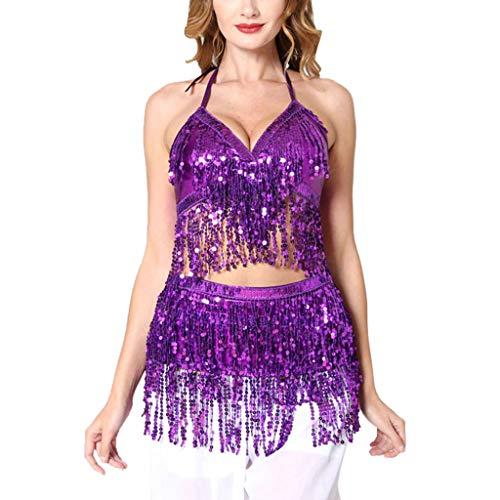 Likecrazy Damen Bauchtanz Kostüm Set Latin Indian Bauchtanz Pailletten BH Top + Sexy Rock Frauen Karneval Bauchtanzkostüm (Vintage Bauchtanz Kostüm)