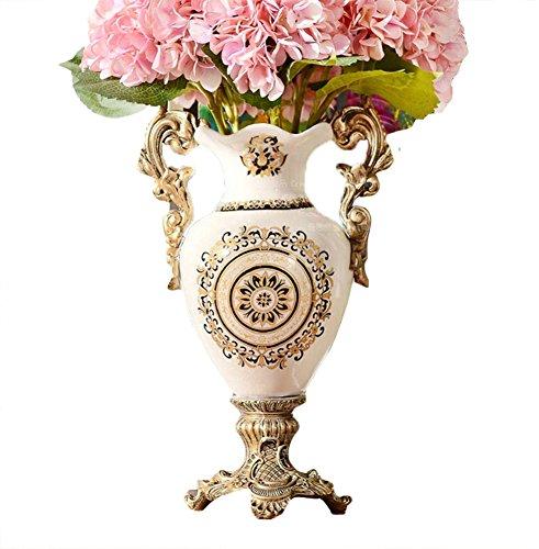 SK Studio Ceramique Vase Blanc Clair Style de Crack de Glace Récipient de Fleur Porcelaine Table Décoration Motif de Fleurs 1 13.5 * 40 cm