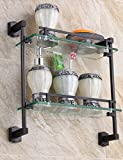 ZWJ Hauptbadezimmer-Zahnstange volles kupfernes Badezimmer-Zahnstangen-Doppelschicht Kosmetik Antike Waschtisch-Glas-Regal-Qualität a ++++,37 * 40 cm