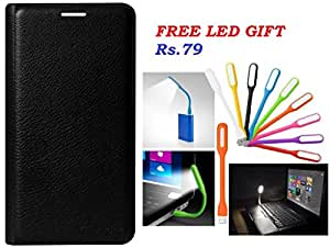 Rapid Zone Perfect Fit Leather Flip Cover With Free Led Light For Samsung Galaxy J2 2016(NOT FOR J2 2015) - Black