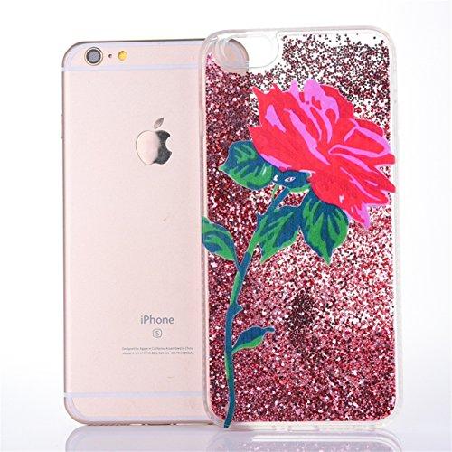 iPhone 6 Hülle, Voguecase Diamond druckt Treibsand Silikon Schutzhülle / Case / Cover / Hülle / TPU + PC Gel Skin für Apple iPhone 6/6S 4.7(Rote Rose 03/Pink) + Gratis Universal Eingabestift Rote Rose 03/Pink