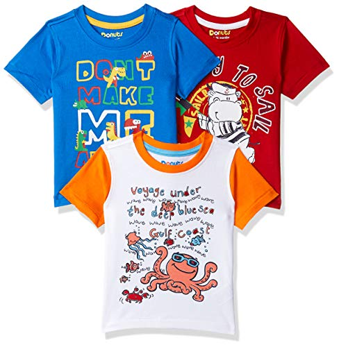 Donuts by Unlimited Baby Boys' T-Shirt (Pack of 3) (400016653434_Assorted_06M)
