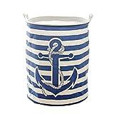 KSMY stendibiancheria hop-pocket cesto biancheria sporca cesta borsa per spesa con scatola pieghevole giocattolo in legno Bin (Stripe Anchor)