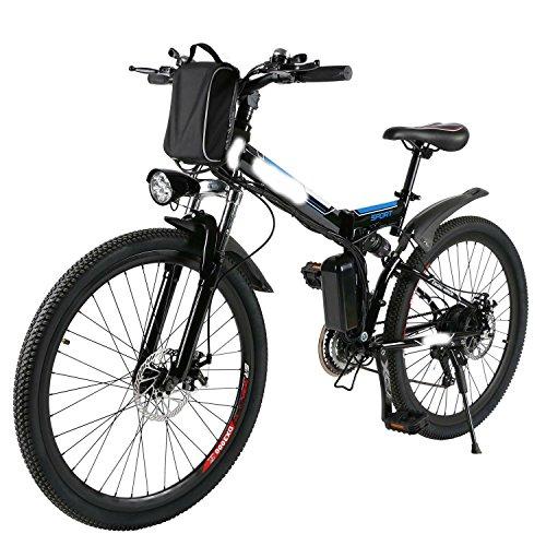 cooshional Bicicletta elettrica pieghevole Mountain Bike tensione 36V diametro ruota 26 inch blu nero
