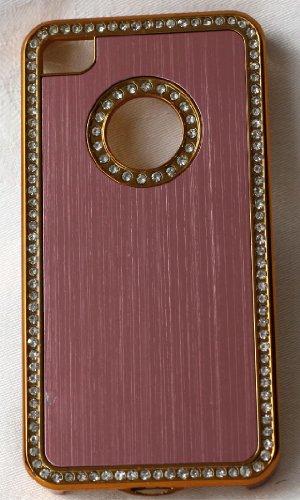 iPhone 4/4S Case Cover Coque de Protection Rigide Strass Chromé + 2protecteur d'écran al480s - rose