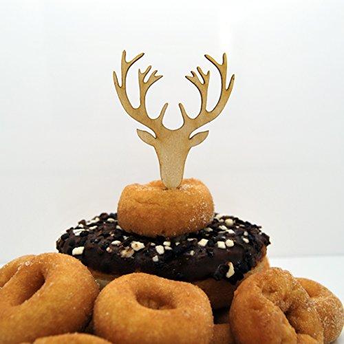 Tête de cerf/bois de cupcake/gâteaux – Lot de 6 bois