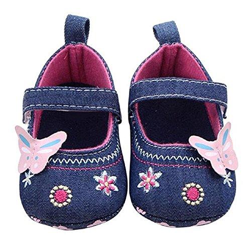 Auxma Babyschuhe Schmetterling weiche Sohle Kleinkind -Schuhe Lauflernschuhe für 0-18 Monate (11cm(3-6 Monate), Violett) Blau