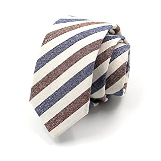 AGENT X Mens Chambray Fashion Daily Casual Skinny Tie Narrow Slim Tie Red White Blue Stripe Twill Cotton Necktie ATB005