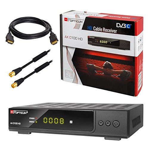 HB-DIGITAL Set: Opticum AX C100 HD Receiver für digitales Kabelfernsehen (HDMI, SCART, USB 2.0, Mediaplayer) + 3m HDTV Antennenkabel vergoldet mit Mantelstromfilter schwarz + HDMI Kabel