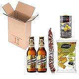 Spanische Geschenke, geschenkideen, präsentkorb, geschenkkorb – 2x San Miguel Bier, Fuet espetec, Snatt's Rosmarin und Oliven