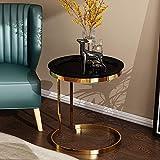 ZJJ Runder Couchtisch, Niedriger Tisch, Beistelltisch aus Metall, Telefontisch, Nachttisch, Wohnzimmermöbel 50 * 55.5CM (Farbe : SCHWARZ)