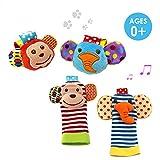 SKK Baby 4 Animal Wrist Rattle and Foot Finder Socks Set Development Toys Gift For Infant Boy Girl