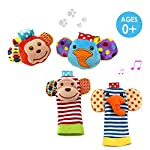 SKK Baby 4 Animal Wrist Rattle and Foot Finder Socks Set Development Toys Gift For Infant Boy Girl 4