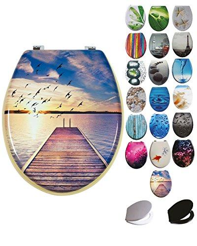 Grafner® MDF WC Sitz mit Absenkautomatik viele schöne Motive zur Auswahl - stabile Qualität - einfache Monatge WC Deckel Klobrille Softcolse (Boardwalk)