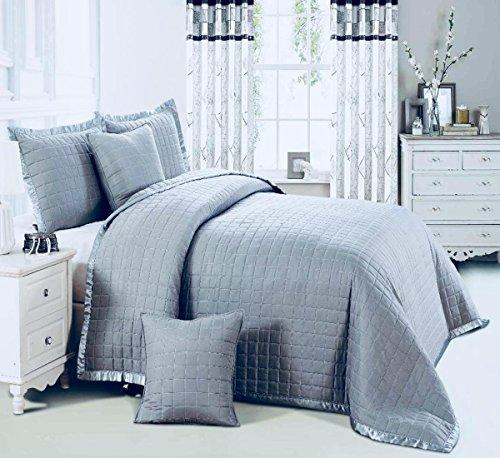 OSCA grau/silber Tagesdecke Tröster 3Stück Bordüre gesteppt Bett Überwurf 1Tagesdecke 2kissenrollen Bettwäsche-Set, Osca Grey Bedspread, Doppelbett