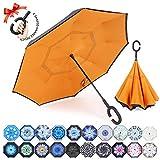 ZOMAKE Double Layer Inverted Umbrella, Windproof Reverse Folding Umbrella with C Shape Handle