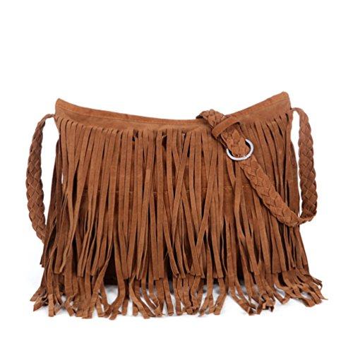 Damen Fransen (Vbiger Schultertasche Fransen Umhängetasche Damen Fransentasche Kunstwildleder für Frauen Kamelfarbe)