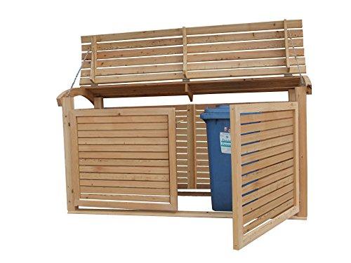 Massive Mülltonnenbox Holz, Modell Mailo H, für drei 240 Liter Mülltonnen - 3