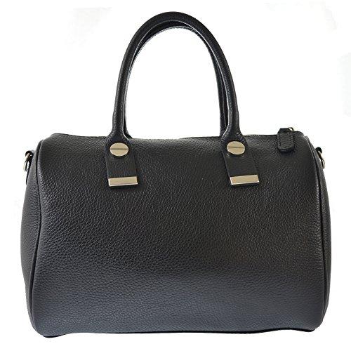CTM Sac à main, sac de bowling de femme en cuir véritable italien fabriqué en Italie 30x22x14 Cm