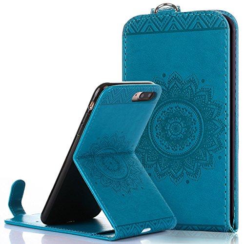 Custodia iPhone 7/8 plus,Ukayfe Flip Cover Case Custodia per iPhone 7/8 plus in pelle PU,iPhone 7/8 plus Lussuosa Astuccio Custodia Cover [PU Leather] [Shock-Absorption] Protettiva Portafoglio Cover C Blu