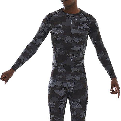 RUXN Herren Cr004 Kühlen Schnell Trocken Rundhals Langarm Kompression Shirts Unterschicht Baselayer AKTIV Sport (S, Grey(Camo)) (Leichtes Langarm-ausbildung)
