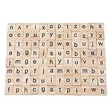 LGJJJJ 100 Pièces en Bois Blocs Anciens Jouets Éducatifs ABC Lettre Blocs Nombre Comptant Puzzle Blocs Alphabétisation Bloc en Bois, Lettres
