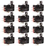 Gebildet 12 pezzi Micro Interruttore Leva a Rullo, V-155-1C25 Finecorsa SPDT, 3 Pin 2 Posizione 1NO 1NC Mini Interruttore a Levetta, Braccio Pulsante Attuatore Momentaneo