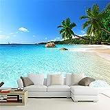 Wandbild Personalisierte Tapete 3D Foto Strandansicht Meer Kokospalmen Landschaft Wandmalerei Wohnzimmer Sofa Tv Hintergrund Wandbild Tapete, 366X254 Cm