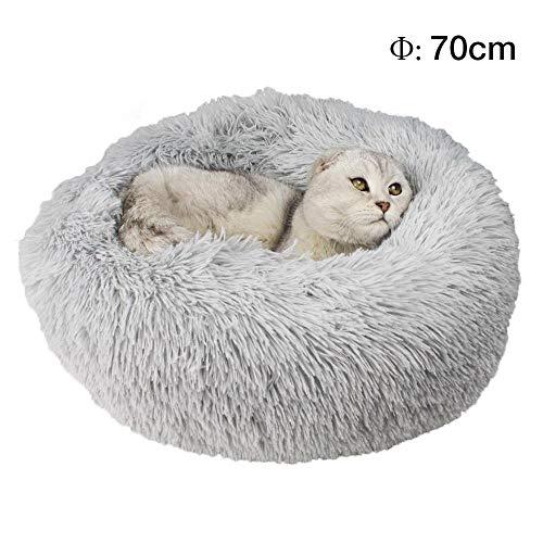 Womdee, cuccia rotonda per animali domestici, lussuosa peluche, a forma di ciambella, per cani e gatti, cuscino auto riscaldante con morbido peluche e fondo antiscivolo impermeabile, Light Grey, large