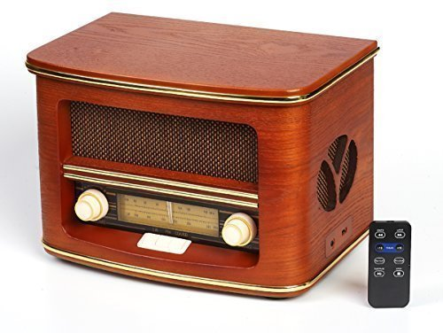 Nostalgie Retro Radio mit CD-Player | Stereoanlage | Kompaktanlage | Radio | USB | FERNBEDIENUNG |