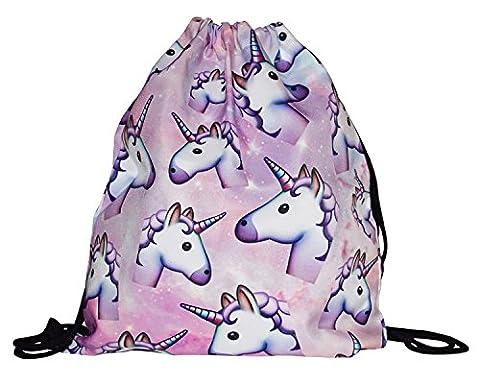 Be Unicorn | Cooler Licorne sac de gym décorés Emoji Cartoon motifs | avec cordon de serrage d'Impression 3D | beau cadeau | élégant | pour les fans de licorne