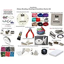 Jeweltailor NEW! Deluxe Adult Braiding, Knotting & Kumihimo Jewellery Making Starter Kit ~ With 2 Kumihimo Boards,Silky Cord, Pliers, Bobbins, Seed Beads, Glue, End Beads,300+ Findings, 20 Page Guide + More+ FREE UK Delivery