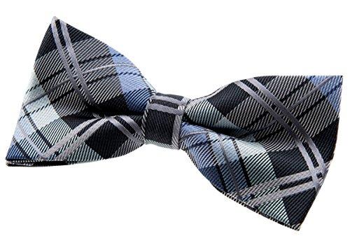 Pajarita con nudo hecho, elegante, diseño de cuadros escoceses, tejido de microfibra (11,4 cm), de la marca Retreez gris Dark Grey and Blue Talla única