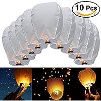 JRing 10 Piezas Linternas de Papel de Vuelo Chino Lámparas de Velas de la Vela Para la Navidad, víspera de Año Nuevo, fFesta del Deseo y Bodas / Blanco