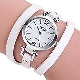 Montre de mode rétro diamant sexy en cuir PU Rawdah Simple Montre-Bracelet Mode Femme Chic Élégant Artificiel Diamant Mesdames Bracelet Diamond Circle Watch étudiant Fashion Table (Blanc)