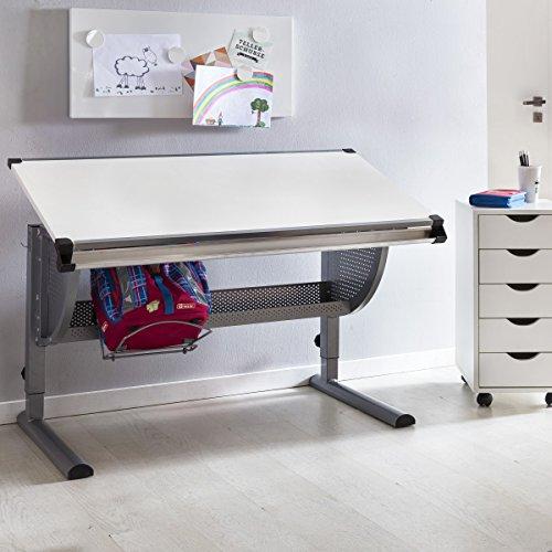 FineBuy Design Kinderschreibtisch MICHI Holz 120 x 60 cm grau / weiß | Schülerschreibtisch neigungs-verstellbar | Schreibtisch Kinder höhenverstellbar