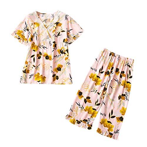 QinMM Damen Nachtwäsche Pyjama Set Kurzarm Top & Hose Loungewear Nachtwäsche - Day Valentines Pyjama-hose