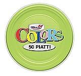 GIRM - S01699 - Piattini frutta e dolci di plastica verde acido 50 pezzi, piatti monouso per feste, piatti di plastica monouso, piatti piani colorati.