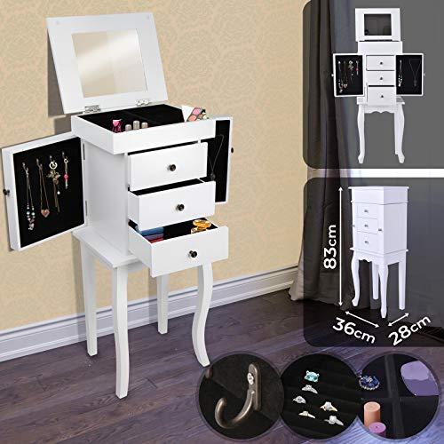 Miadomodo® - Armario joyero 36/83/28 cm con 1 espejo, 3 cajones y 2 colgadores - madera - color blanco...