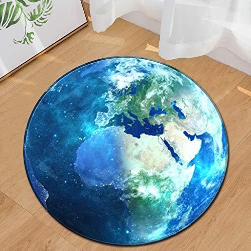 """Scrolor Stilvolle Cool Space Star Earth Design Runde Bodenmatte Teppich Wohnzimmer Schlafzimmer rutschfeste mehrere Stile Teppiche-Durchmesser 24\""""(60 cm)"""
