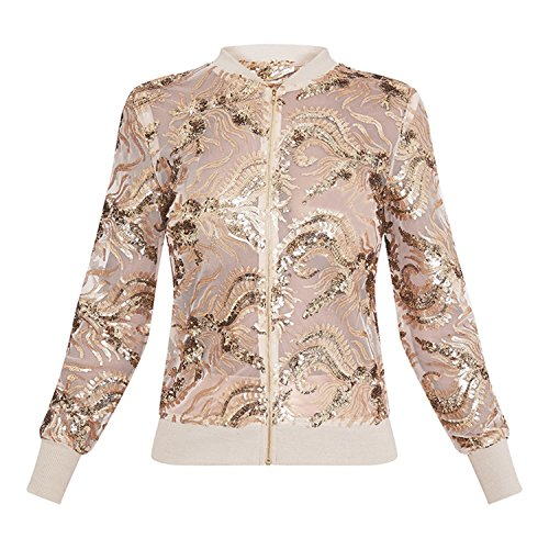 Reißverschluss Zip Vorne Gold Foil Blumen Embroidery Open Spitze Netz Bomberjacke Blouson Jacket Jacke Oberteil Top Beige - 5
