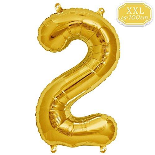 DeaGo XXL Folienballon Zahl [ca.100cm], Gold Luftballon Zahlen für Geburtstag Jubiläum & Party Geschenk partydeko Folienballon Zahlen Luftballons Happy Birthday (Gold [2])